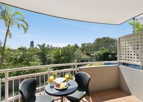 Queen Studio Apartment Balcony - The Wellington Apartments Hotel Brisbane